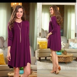 Plum Long Sleeve Tunic Dress